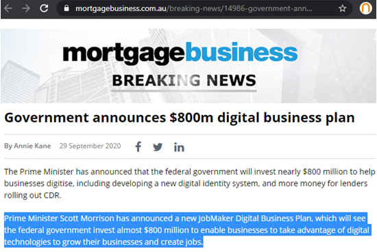 Government $800m digital business plan